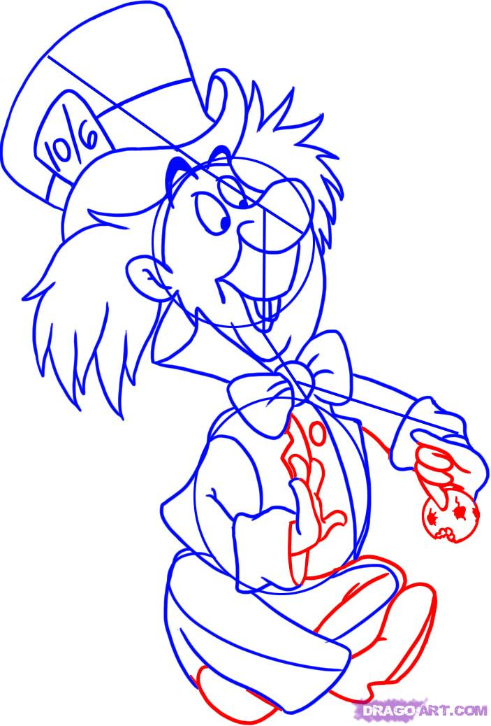 703x1038 How To Draw Mad Hatter From Alice In Wonderland Step 5 Sweet 16