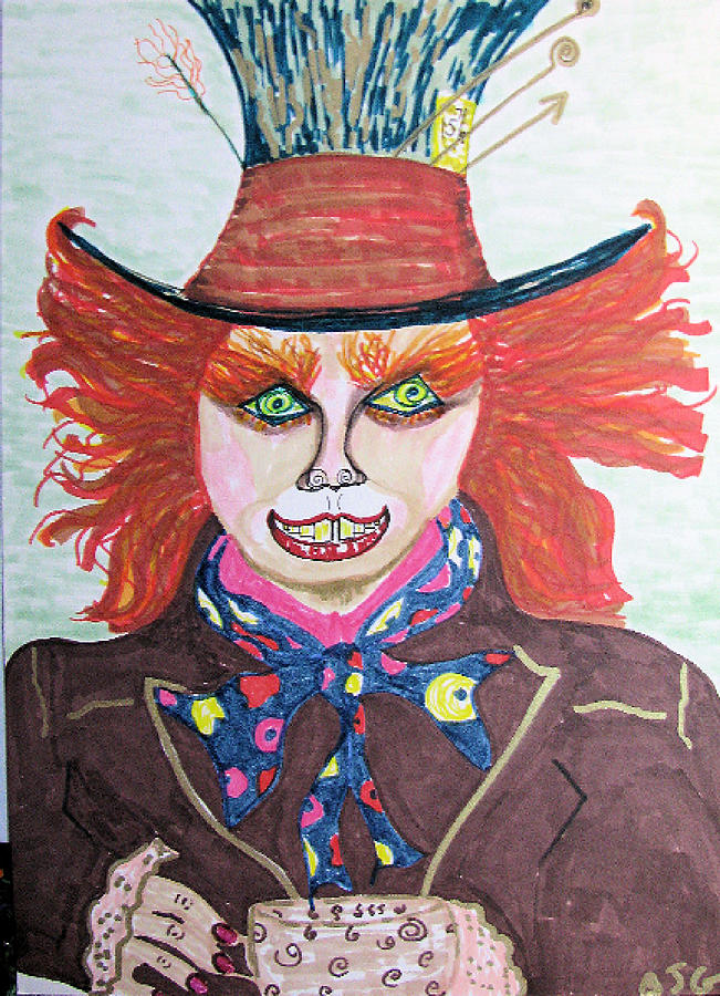 651x900 The Mad Hatter Drawing By Barbara Giordano
