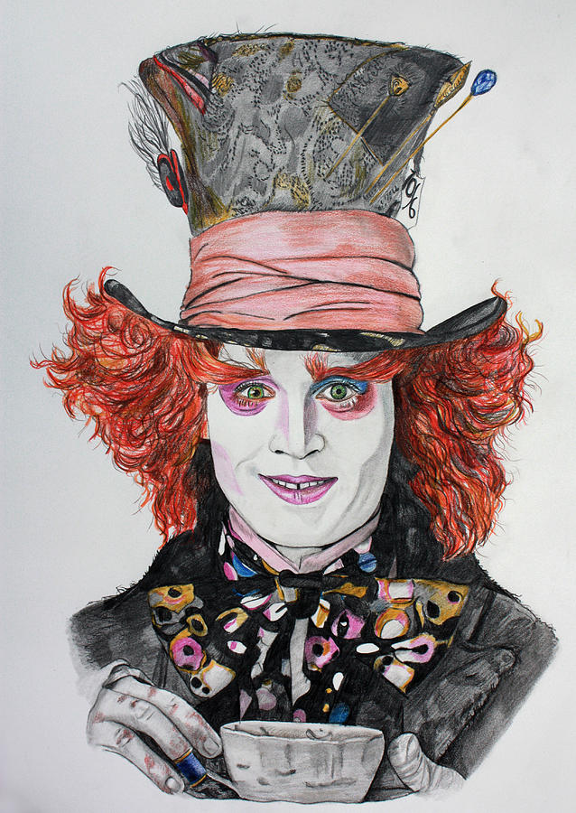 638x900 The Mad Hatter Drawing By Wendy Rodgers
