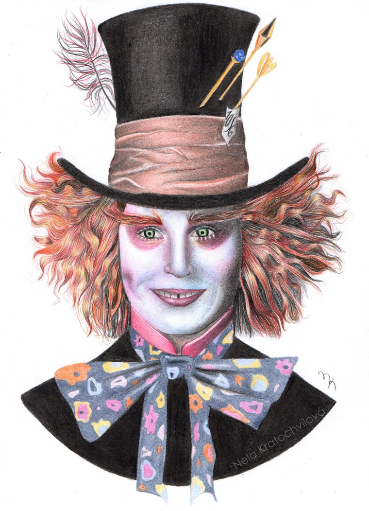 760x1051 The Mad Hatter Drawing By Nelakratochvilova