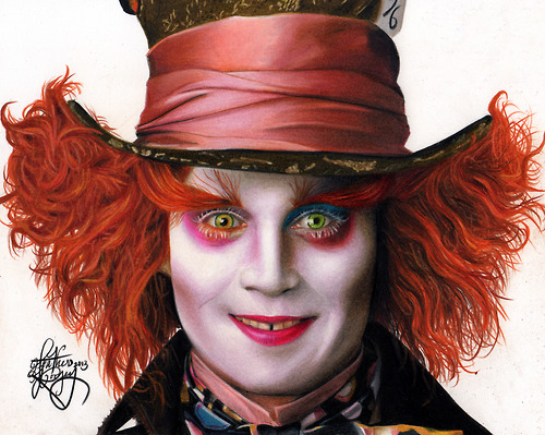 500x399 Drawing Johnny Depp As The Mad Hatter By Heatherrooney
