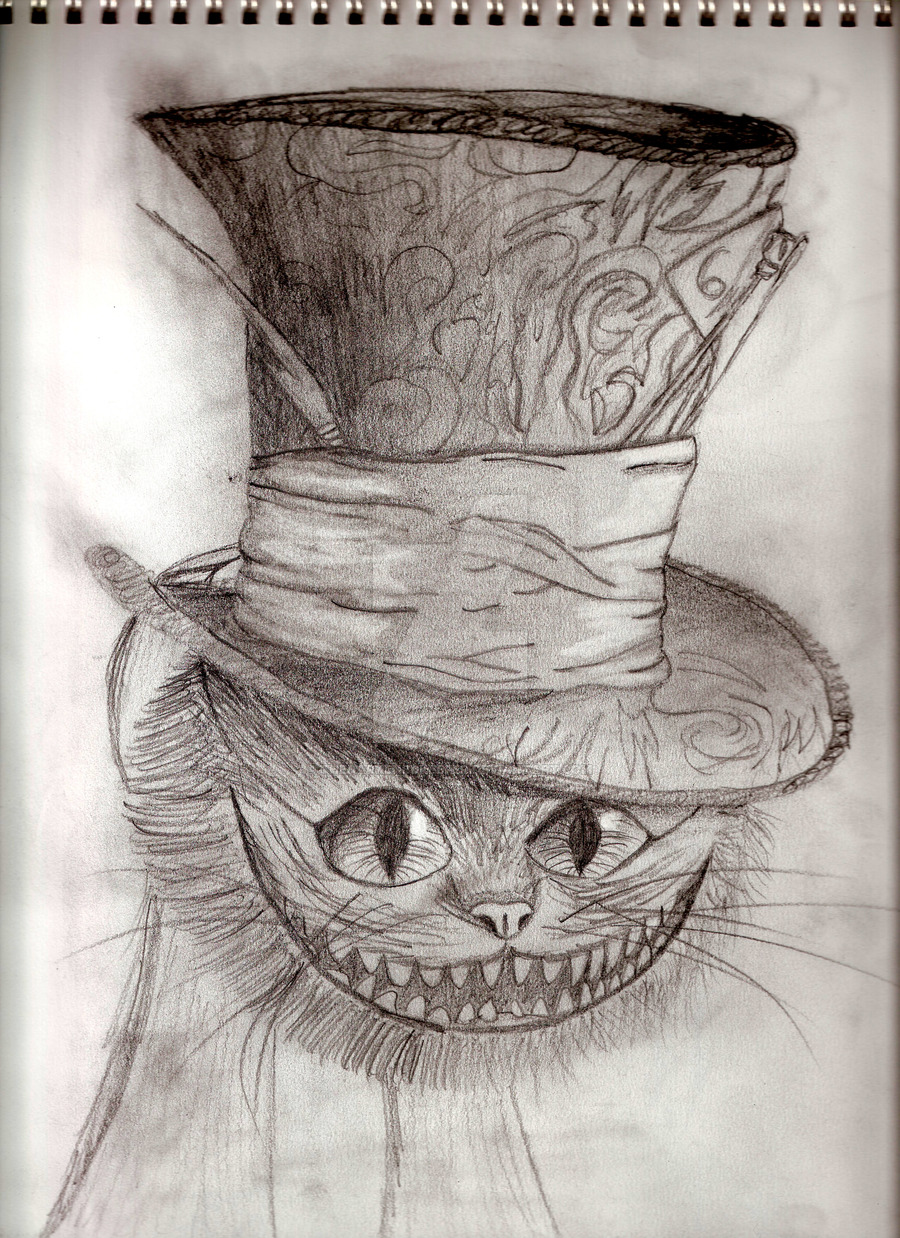900x1238 Cheshire Cat With Hatter's Hat By Thedarkenedkeeper