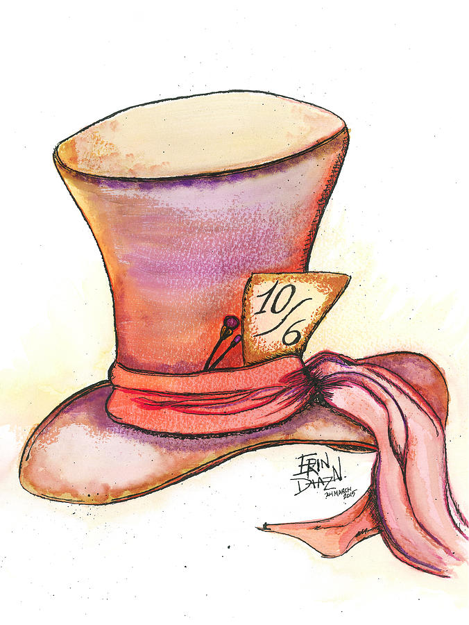 676x900 Mad Hatter's Hat Drawing By Erin N Diaz