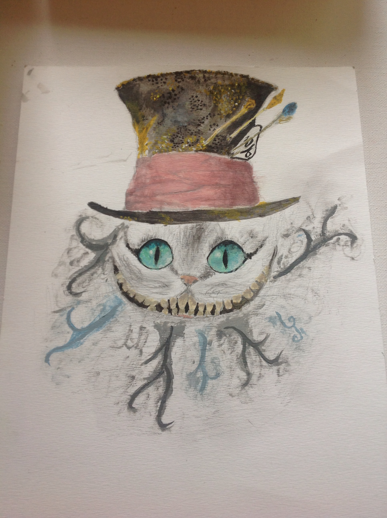 1530x2048 My Drawing Of Cheshire Cat In The Mad Hatter's Hat D Candles