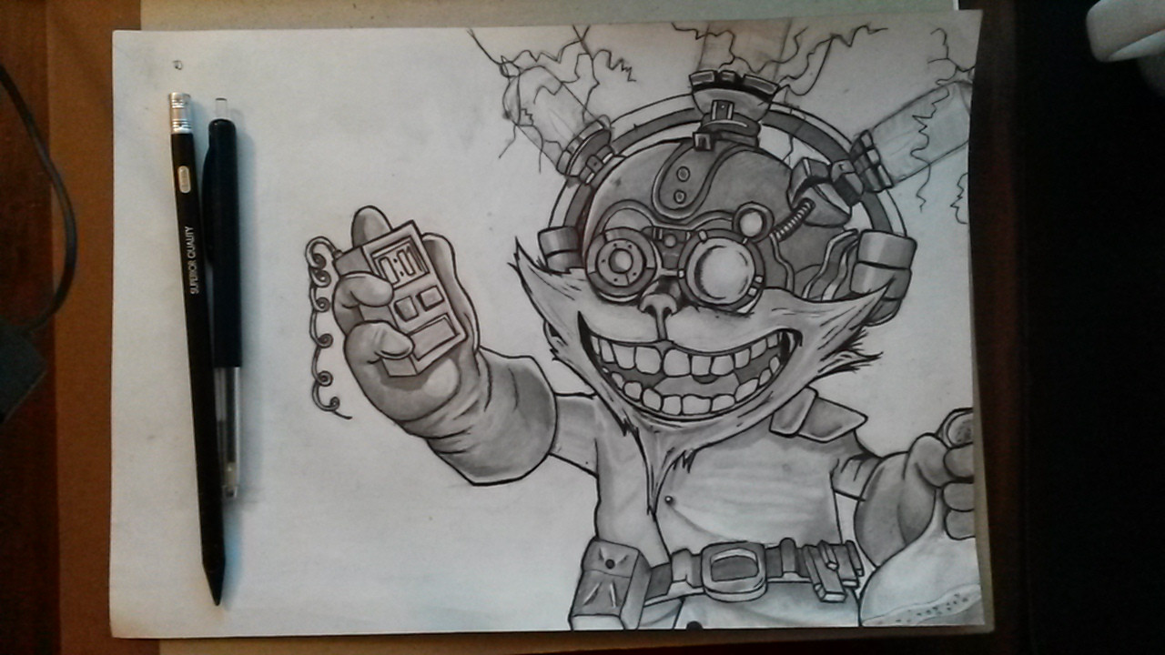 1280x720 Mad Scientist Ziggs [Pencil Drawing] Lolfanart