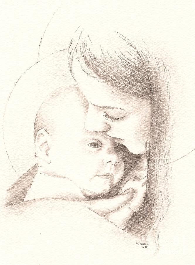 665x900 Madonna And Child Drawing By Manon Massari