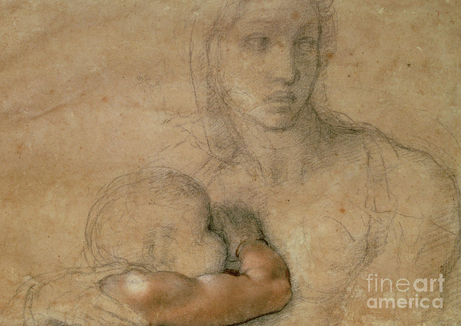 900x638 Madonna And Child Drawing By Michelangelo