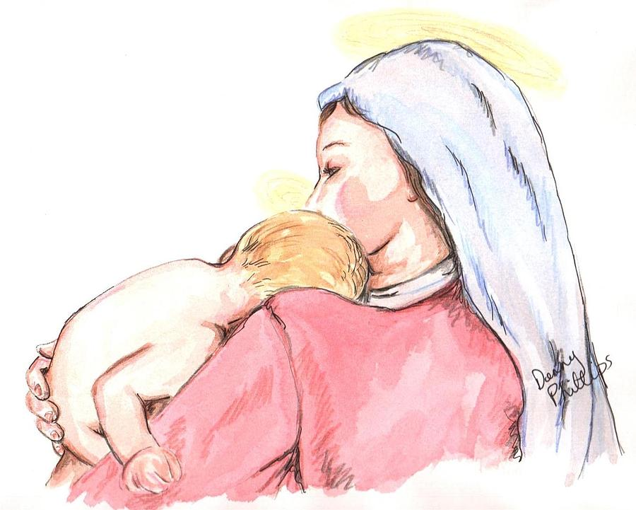900x721 Madonna And Child Ii Drawing By Denny Phillips