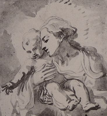 367x400 Madonna And Child (Drawing) By Elizabetta Sirani 17th C. Master
