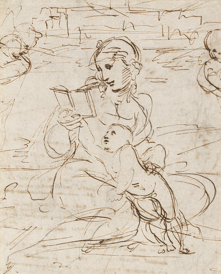 725x900 Reading Madonna And Child In A Landscape Betweem Two Cherub Heads