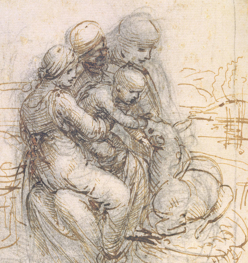 849x900 Virgin And Child With St. Anne Drawing By Leonardo Da Vinci