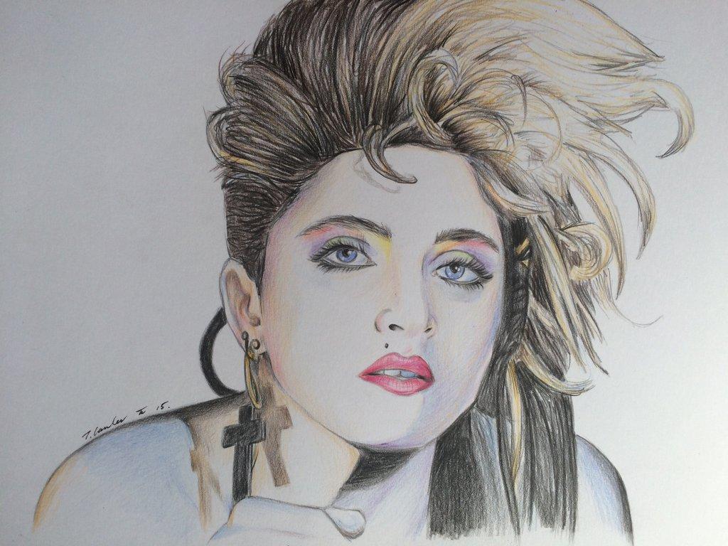 1024x768 1980s Style Madonna Drawing By Billyboyuk