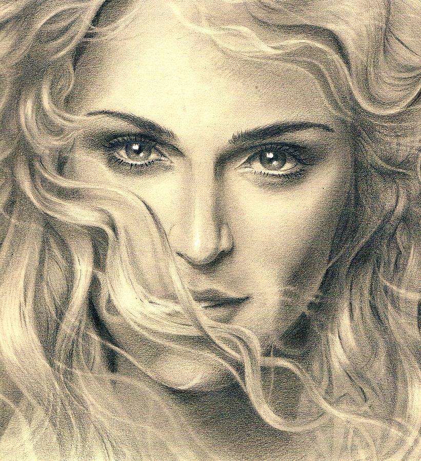 821x900 Madonna Portrait Drawing By Martin Velebil