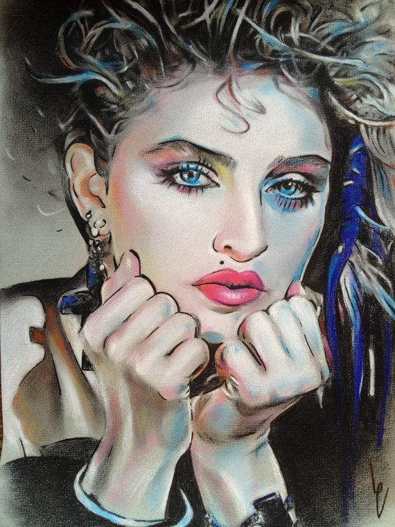 570x760 Madonna Pastel Drawing Print, Love The Colors!! Artsy Fartsy