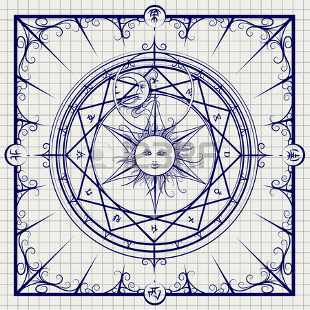 450x450 Alchemy Magic Circle On Shining Blue Background. Vector