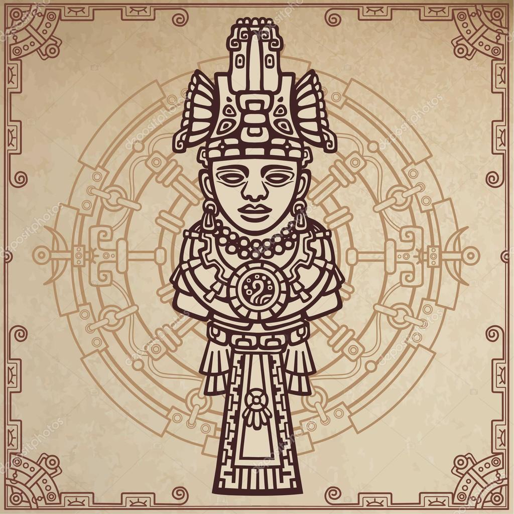 1024x1024 Linear Drawing Decorative Image Of An Ancient Indian Deity. Magic