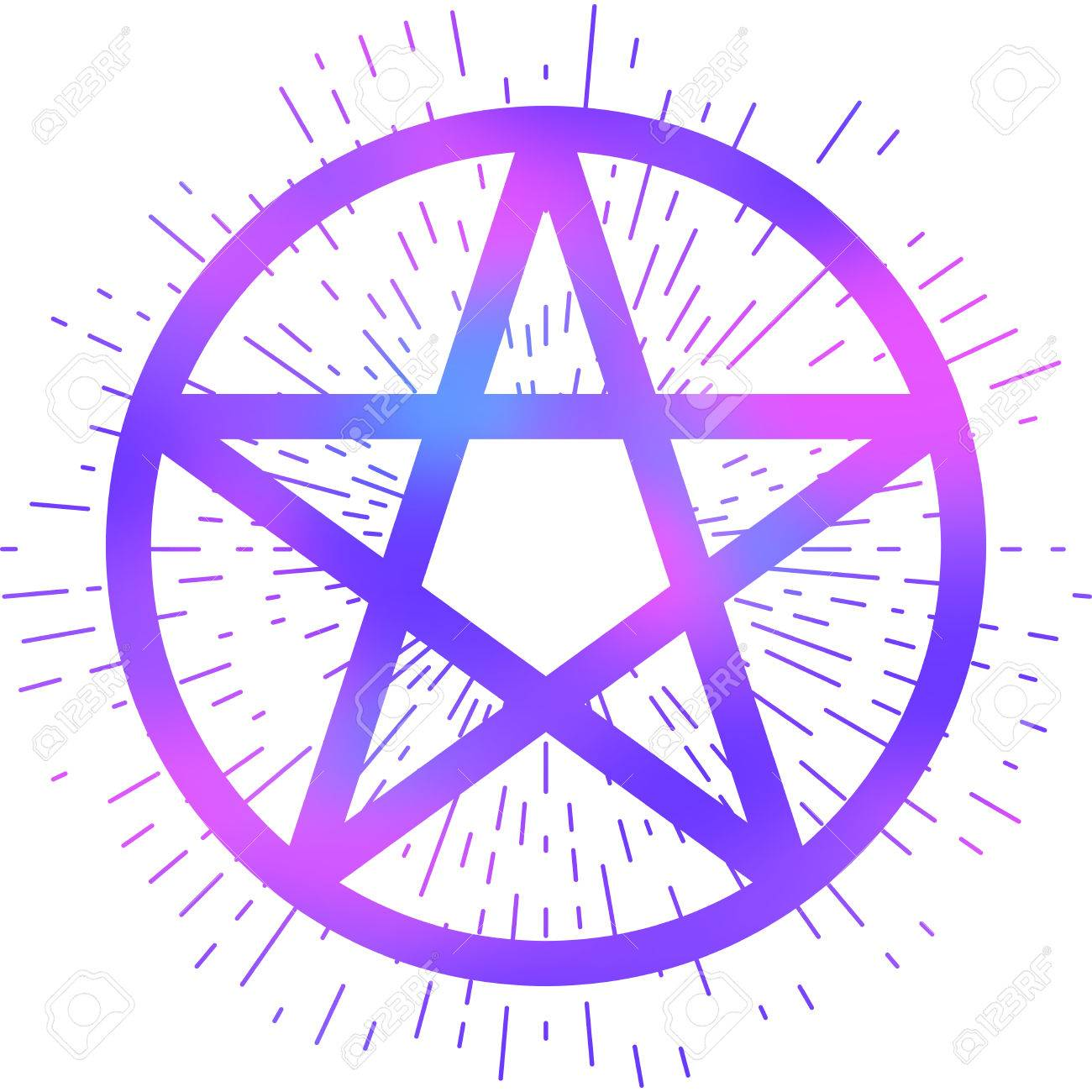 1300x1300 Pentagram Icon, Brush Drawing Magic Occult Star Symbol. Vector