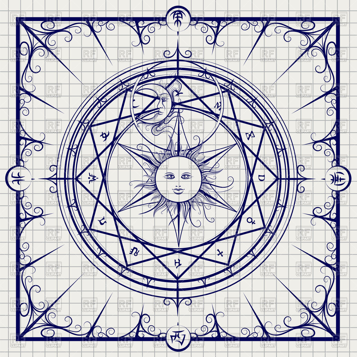 1200x1200 Sketch Of Alchemy Magic Circle On Notebook Page Royalty Free