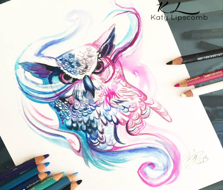 750x640 Magic Owl Color Drawing By Katy Lipscomb Art No. 1381
