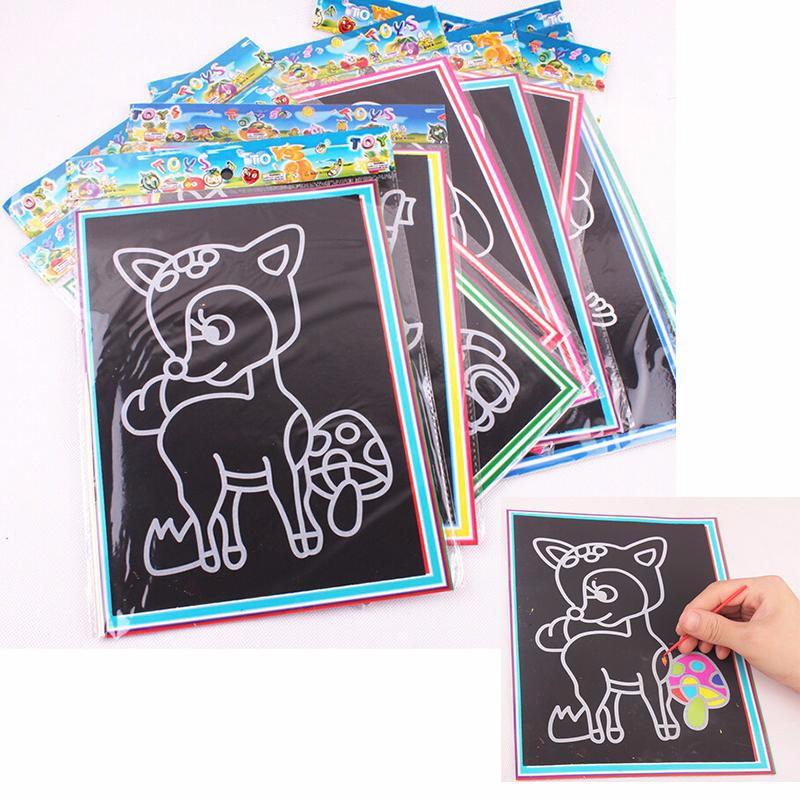 800x800 5pcs Child Kids Magic Scratch Art Doodle Pad Painting Card
