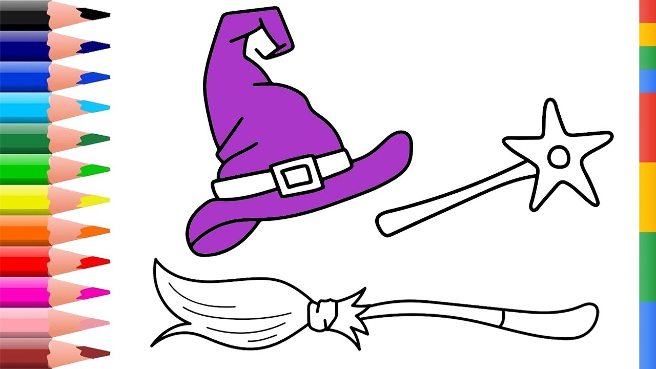 1280x720 Draw Witch Set Coloring Pages For Kids Coloring Pages Magic