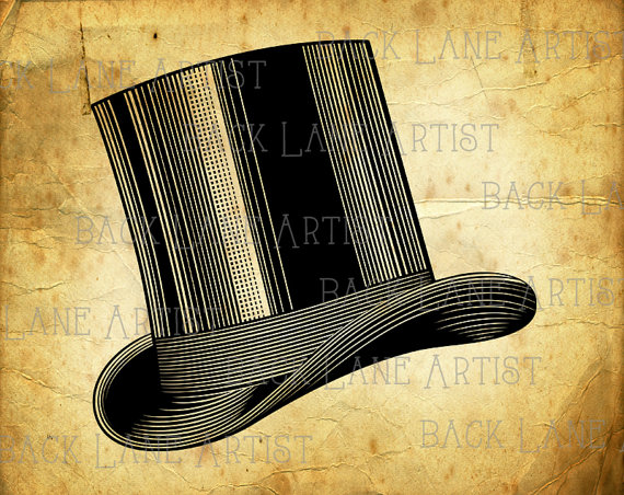 570x452 Vintage Magic Hat Top Hat Clipart Lineart Illustration Instant