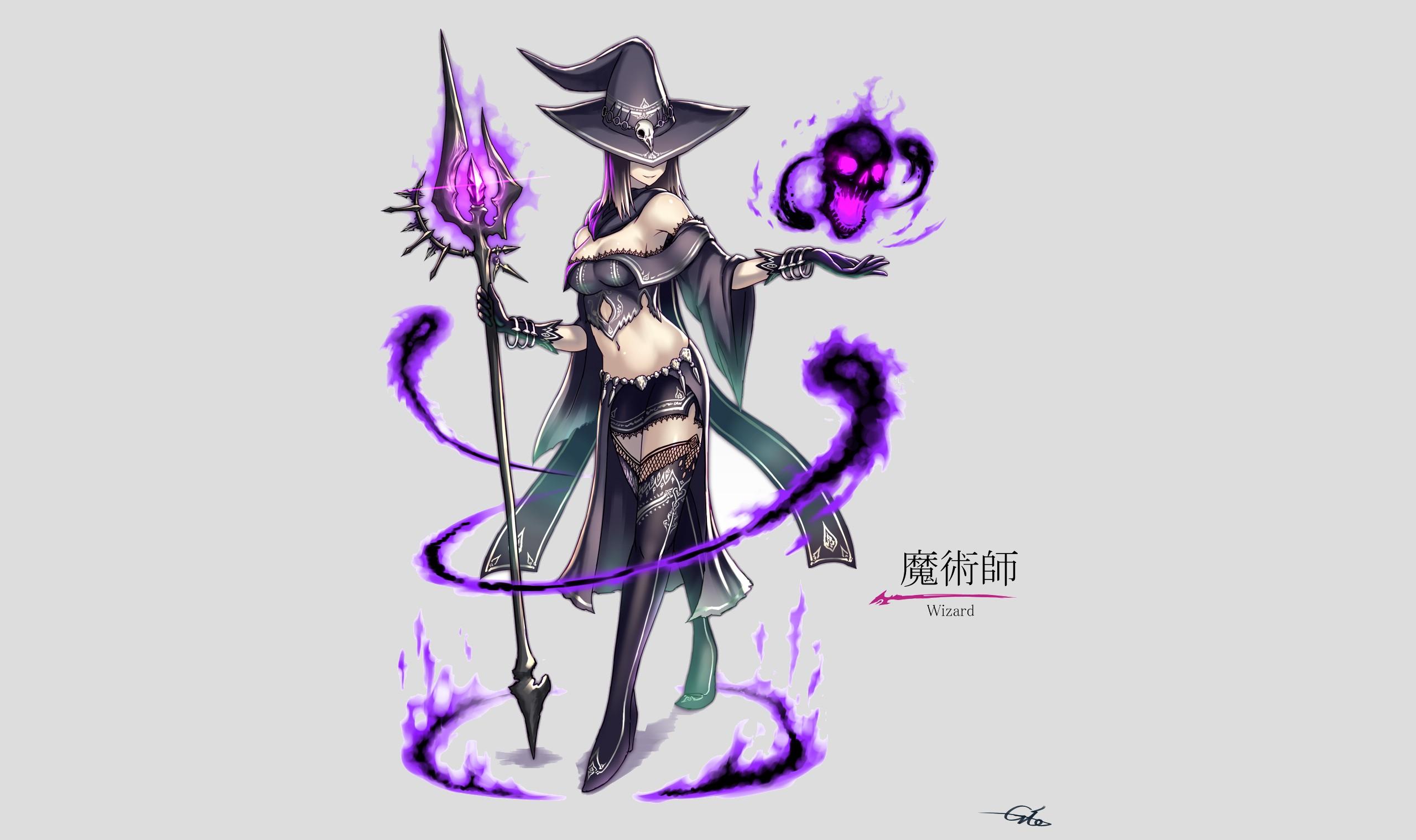 2560x1519 Wallpaper Drawing, Illustration, Anime Girls, Hat, Weapon