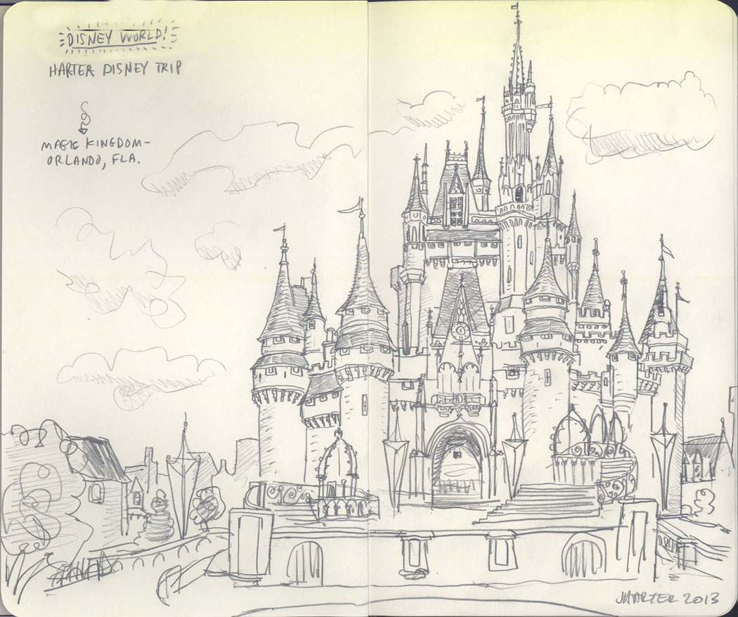 1050x878 Cinderella's Castle, Magic Kingdom, By Jeff Harter Sketchbook