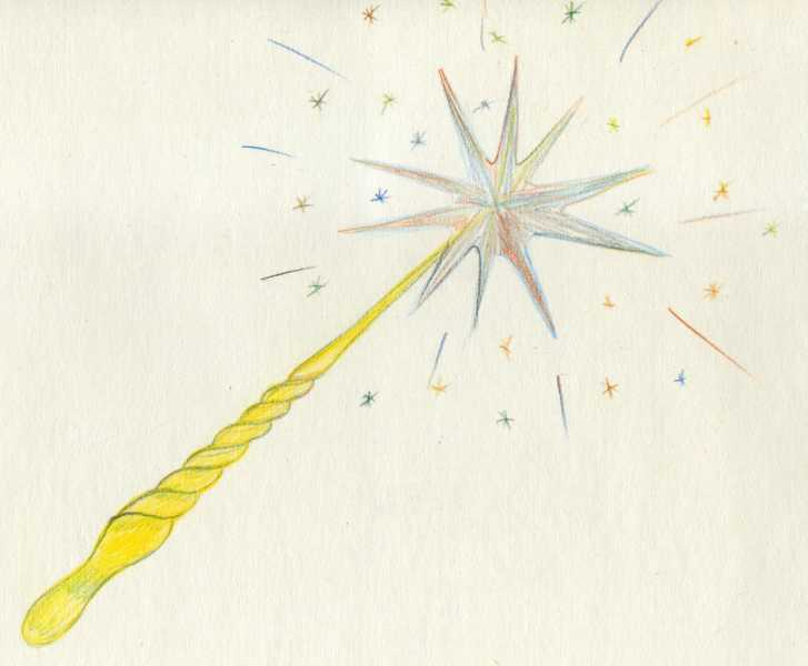 727x600 How To Draw A Magic Wand Pencil Stages