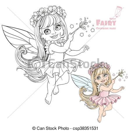 450x452 Little Spring Fairy Girl With Magic Wand Color And Outlined