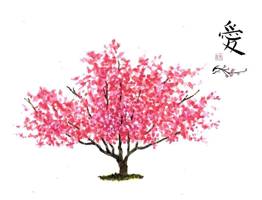 900x687 Magnolia Tree With Asian Symbol For Love Painting By Michael Vigliotti