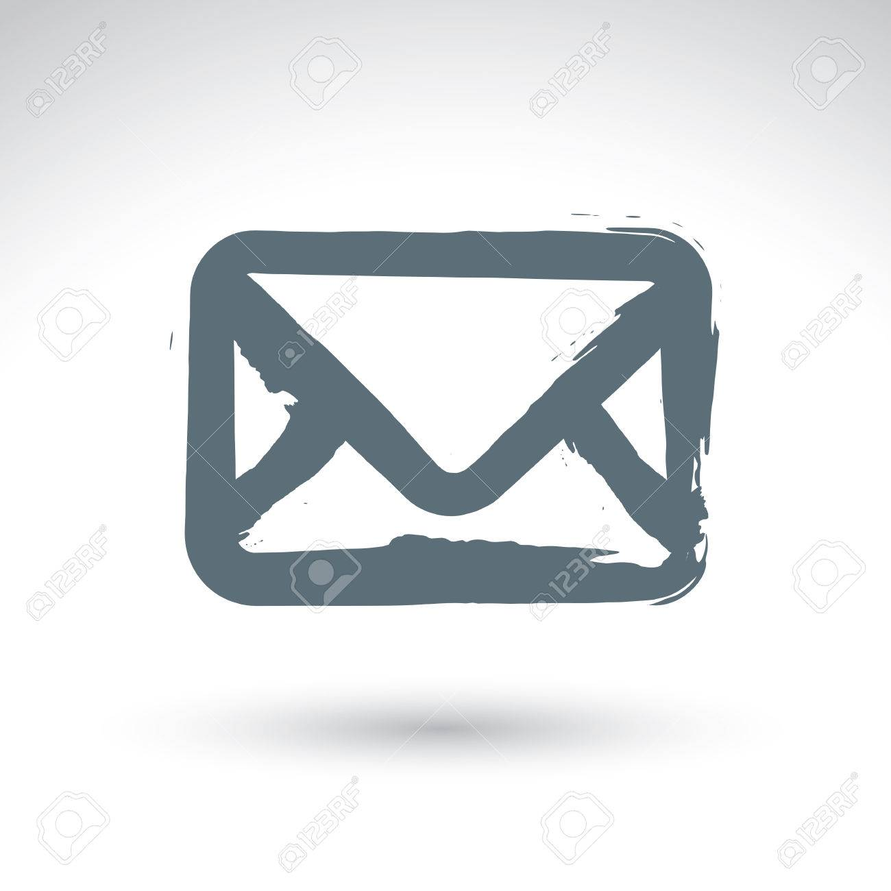 1300x1300 Hand Drawn Simple Vector Mail Icon, Brush Drawing Realistic Email