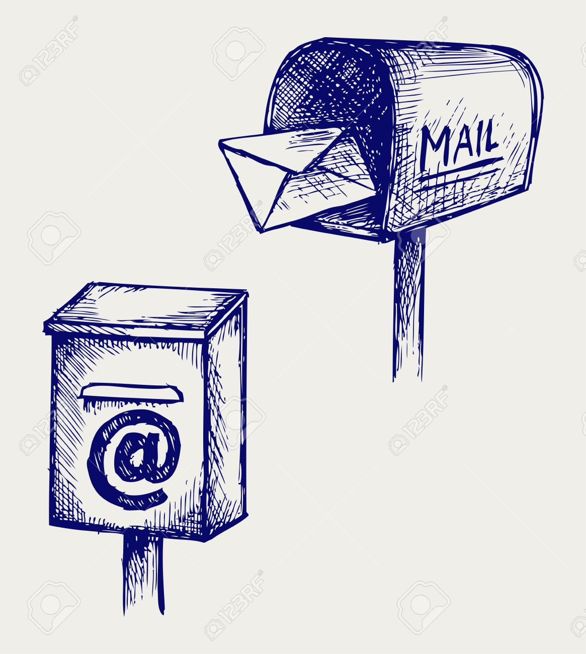 1165x1300 Standard Mailbox With Mail Doodle Style Royalty Free Cliparts