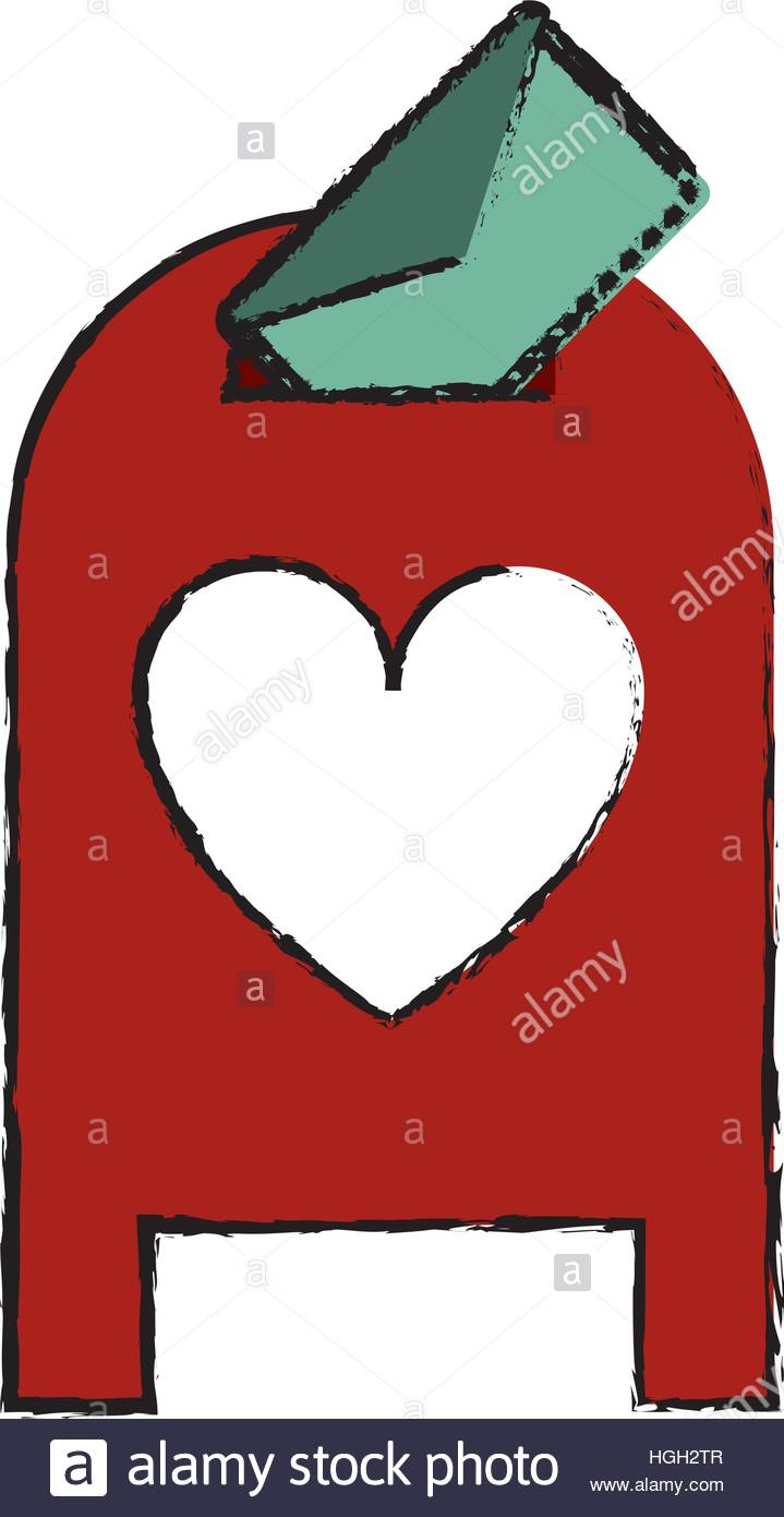 719x1390 Drawing Love Mail Post Box Message Valentine Stock Vector Art