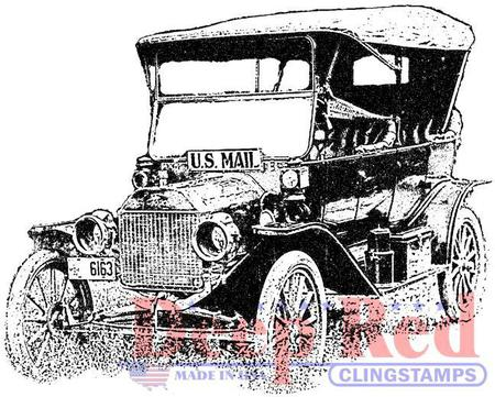 450x361 Deep Red Stamps Old Mail Truck