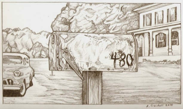 613x367 Original Mailbox, Car, House Drawing Aftcra