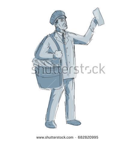 450x470 Illustration Of A Vintage Postman Mailman Holding Up Letter Done