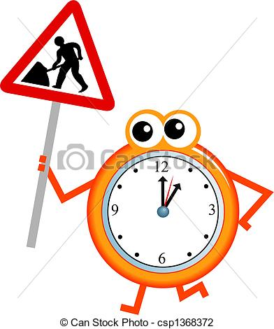 392x470 Maintenance Time. Mr Clock Man Holding A Road Sign Warning Clip