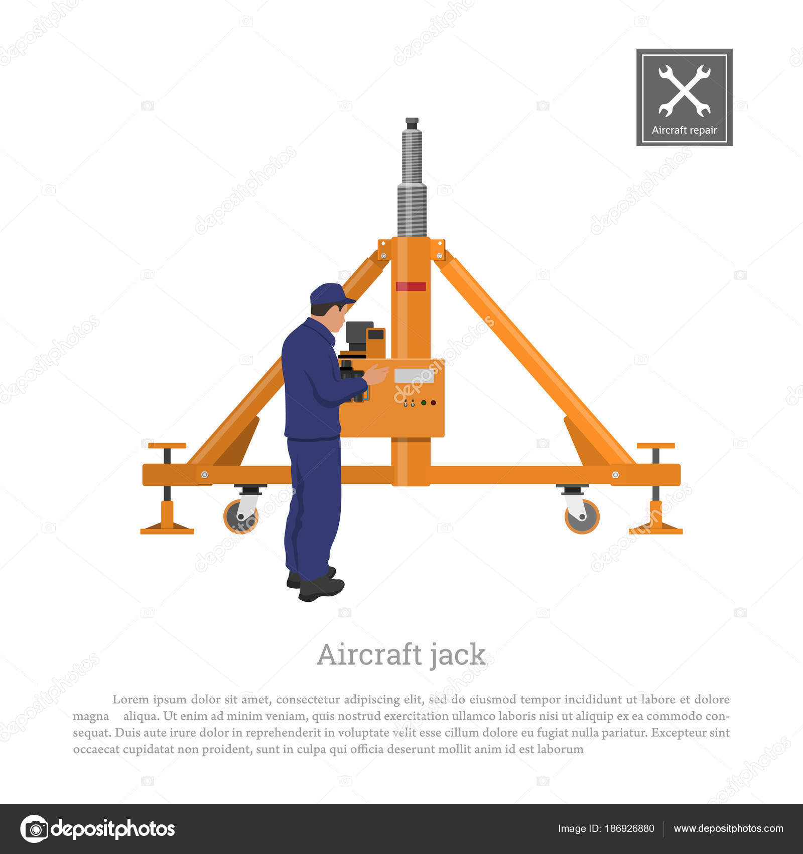 1600x1700 Repair And Maintenance Of Aircraft. Engineer With Airplane Jack