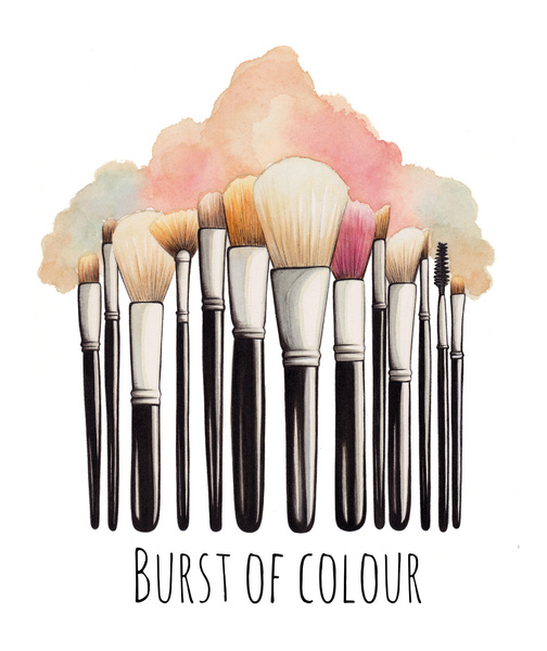 504x600 Maekup Brush Illustration Makeup Brushes Illustration Art Print