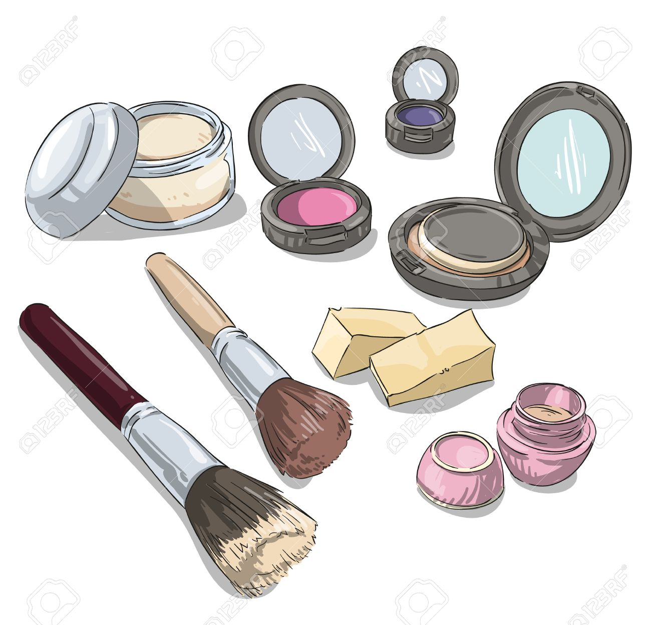 1300x1247 Makeup Products Drawing. Fashion Illustration. Royalty Free