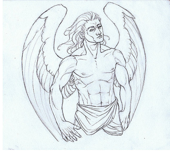 570x507 Items Similar To Male Warrior Angel Original Drawing On Etsy