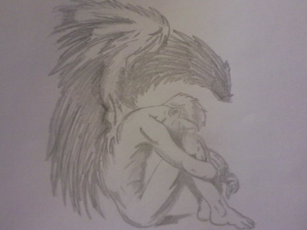 604x453 Male Angel Drawing By Adamsadler