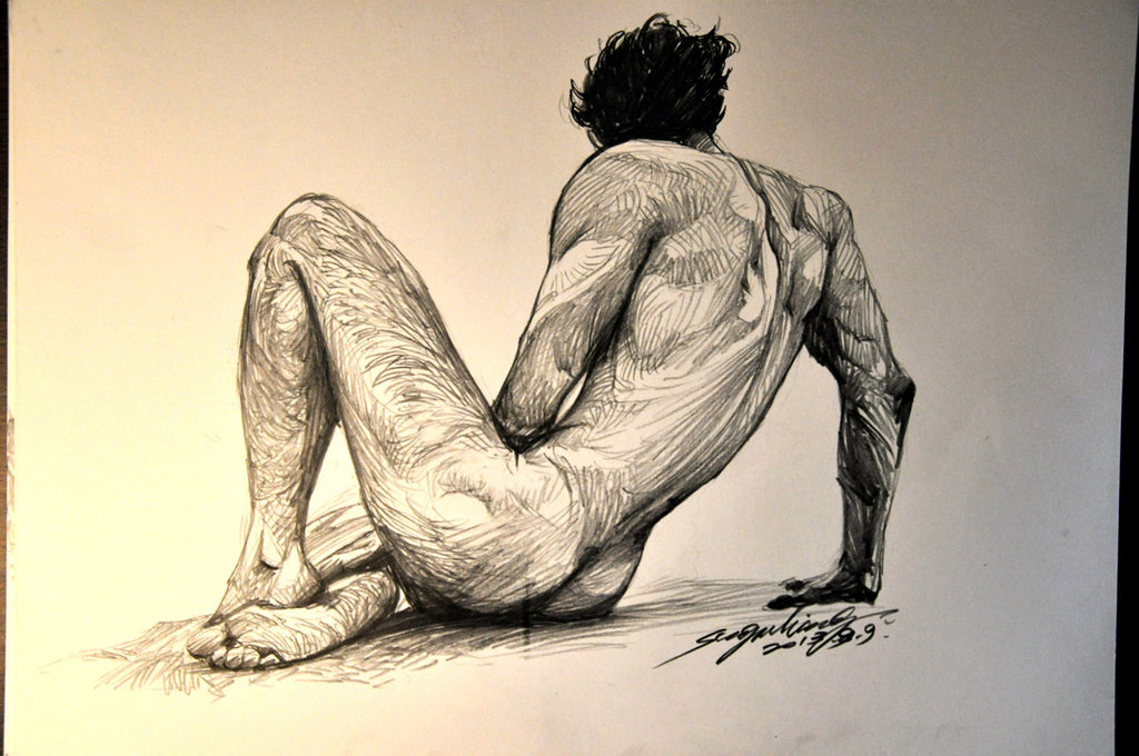 1024x680 Male Body Sketch By Banhatin
