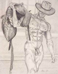 236x300 9 X 12 Drawing Print Nude Male Cowboy Front View Gay Interest Ebay