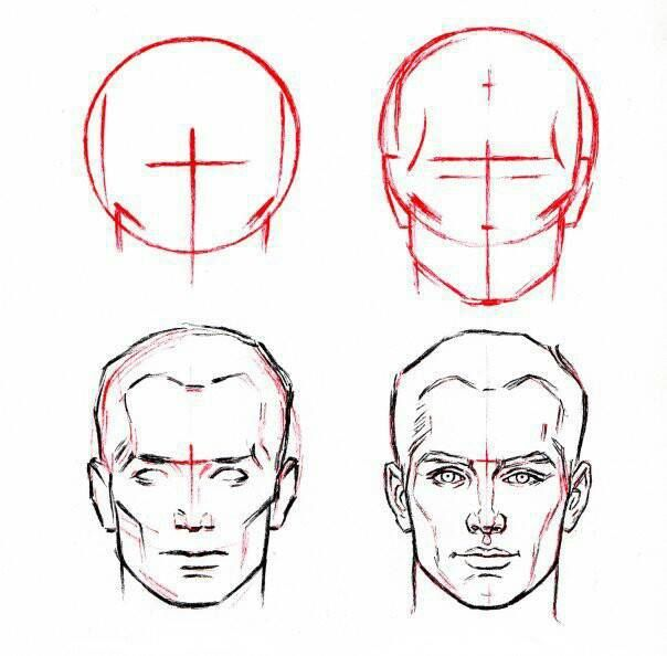 604x594 how to draw man face39s