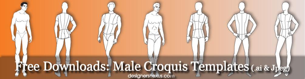 1004x260 Male Croquis Free Mens Fashion Figure Templates