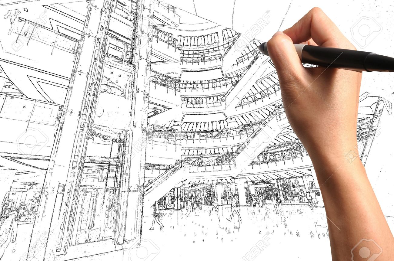 1300x863 Male Hand Draw Building Interior Design Stock Photo, Picture