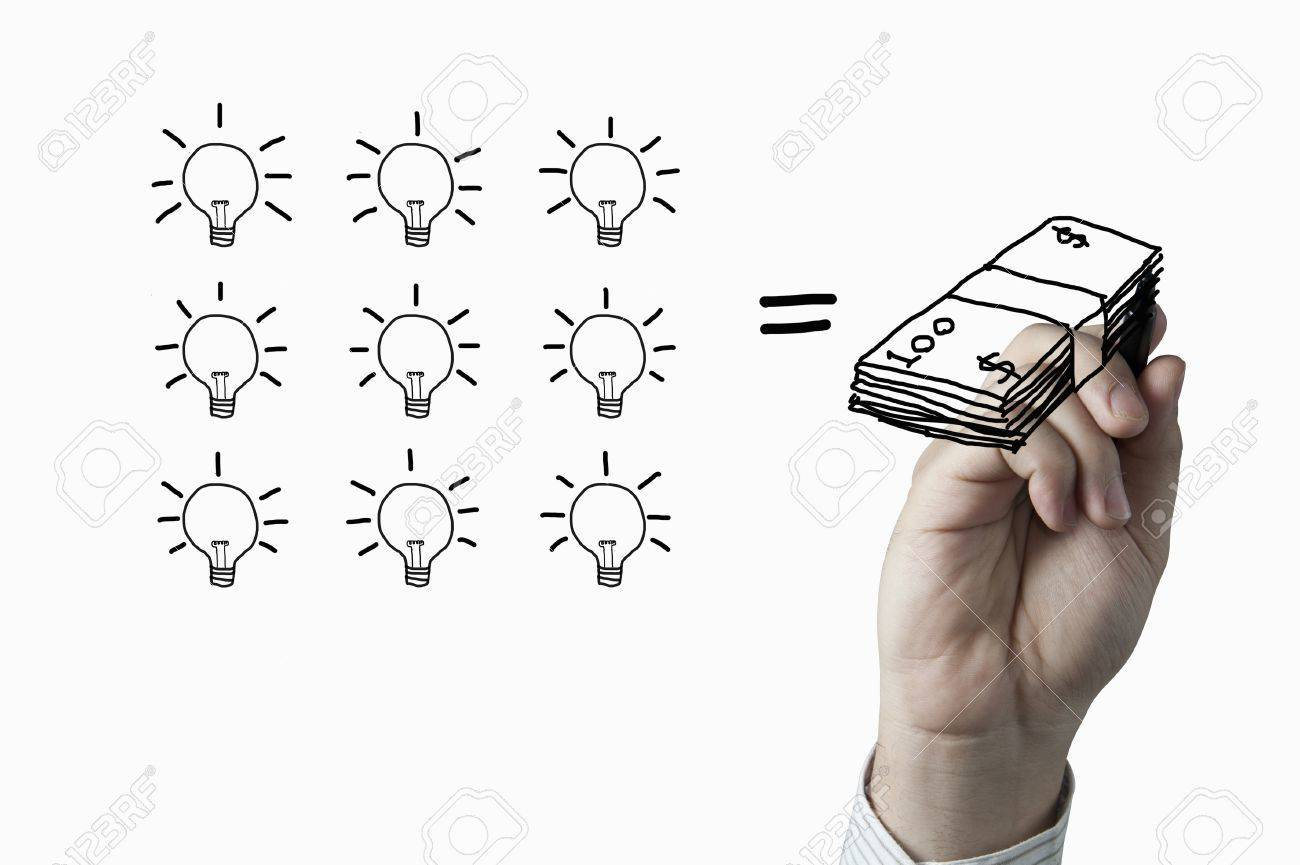 1300x865 Male Hand Drawing A Bulb And Money On Whiteboard Stock Photo