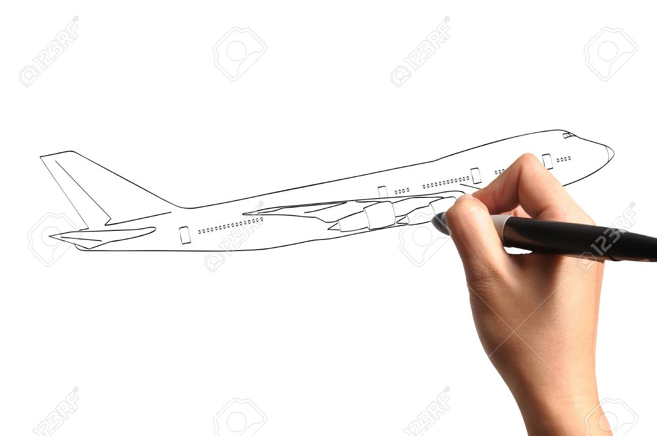 1300x863 Male Hand Drawing Airplane Stock Photo, Picture And Royalty Free